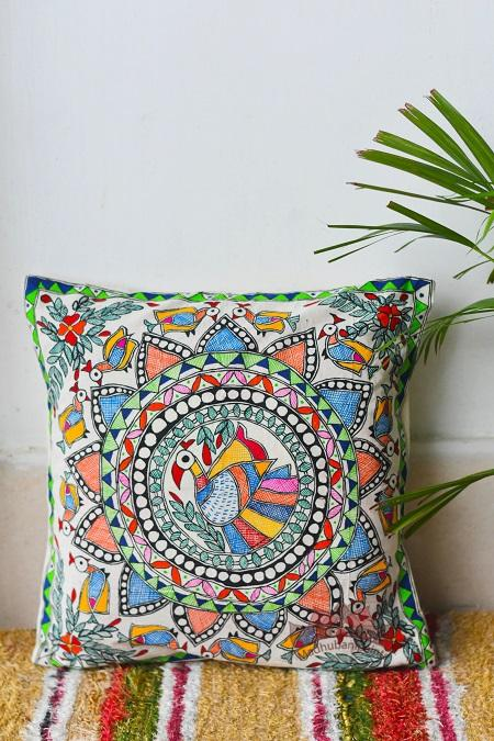 Madhubani Painting Peacock Design Cushion-1