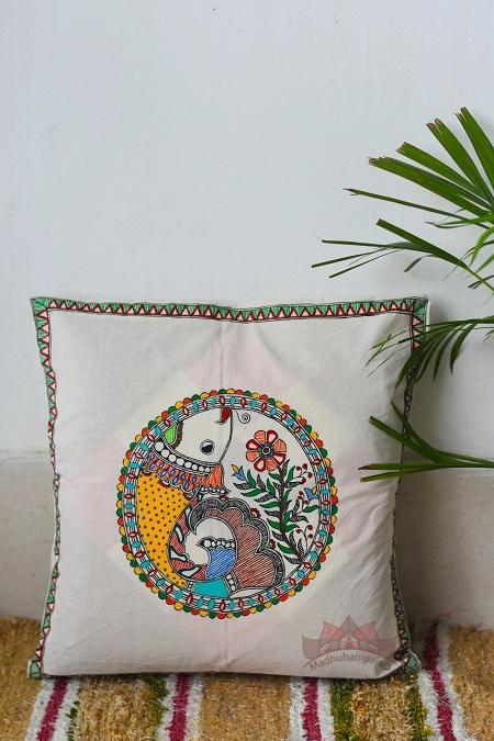 Madhubani Painting Peacock Handpainted Cushion-19