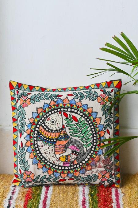 Madhubani Painting Multicoloured Fish Handpainted Cushion-21