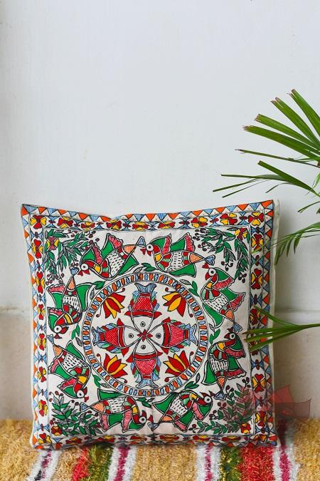 Madhubani Painting Song of Nature Handpainted Cushion-24