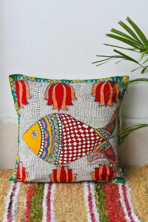 Madhubani Painting Fish Lotus Design Cushion-7