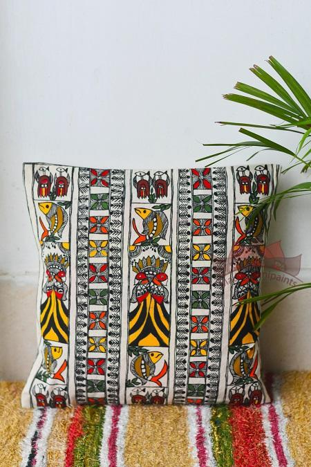 Madhubani Painting Elegant Peacock Design Cushion-8