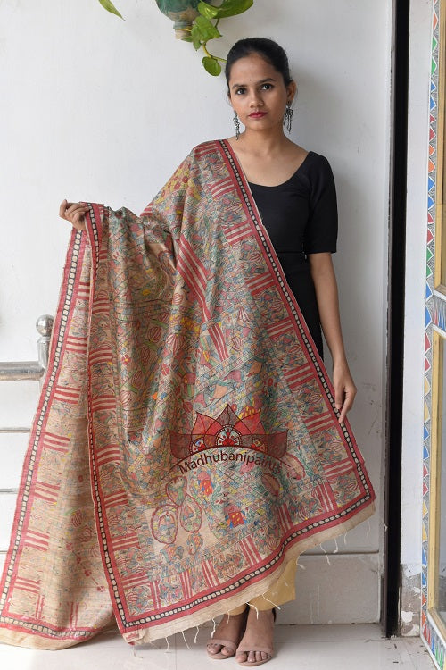 Nature Handpainted Madhubani Tussar silk Full Duppata