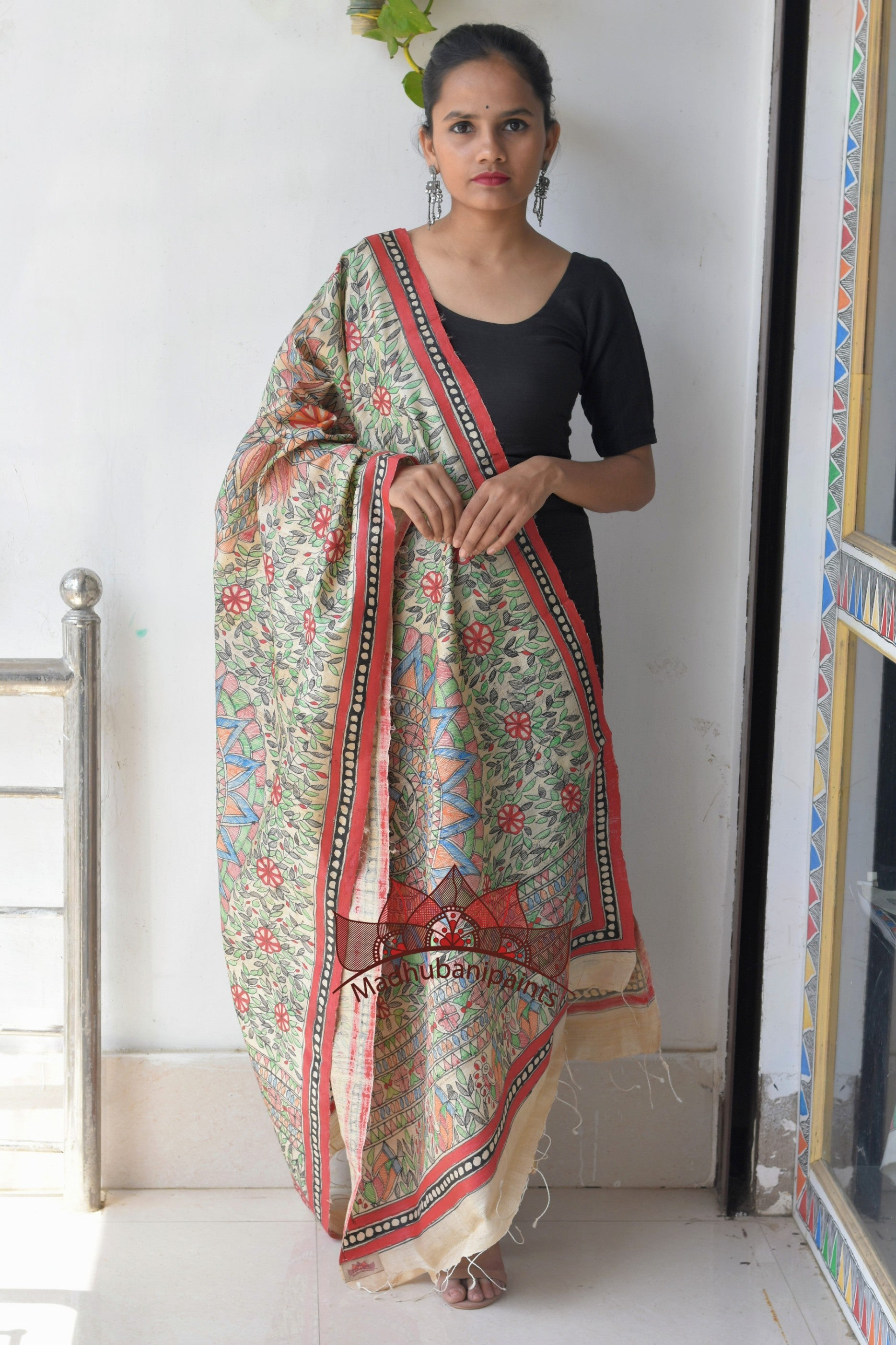 Fish Handpainted Madhubani Tussar Silk Full Duppata