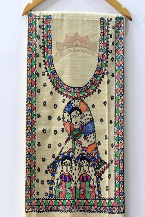 Naina Jogin hand painted madhubani painting kurti pieces online