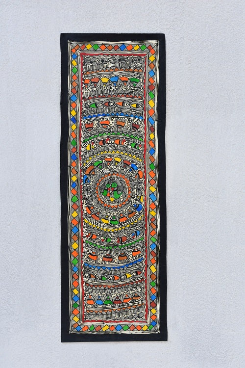 Detailed Bird Madhubani Wall hanging