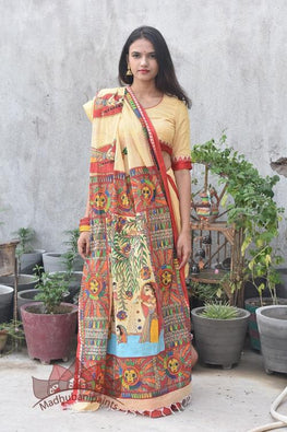 Chhat Puja Handapinted Madhubani Cotton Saree