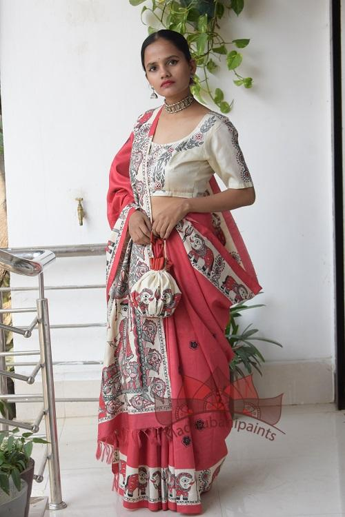 Navdurga Red Handpainted Madhubani Tussar Silk Saree