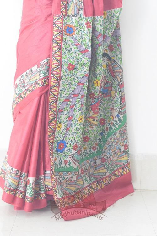 Krishna On Swing Handpainted Madhubani Saree