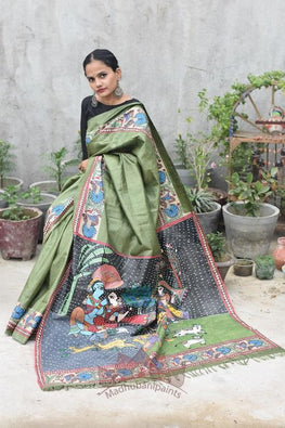 Krishna Baarish Madhubani Handpainted Saree