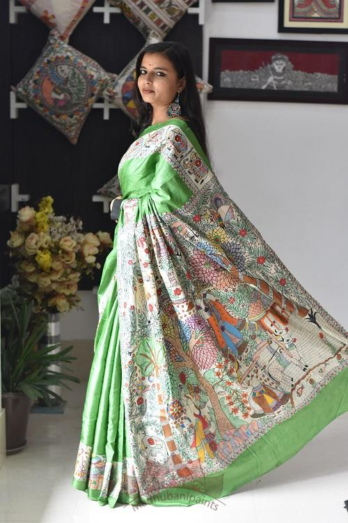 Village in Mithila Handpainted Madhubani Tussar Silk Saree