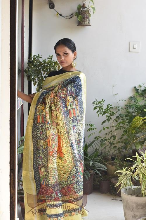 Shyama Yellow Madhubani Handpainted Saree