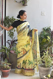 Okhai Shyama Yellow Handpainted Madhubani Painting Saree Online