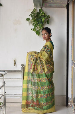 Okhai Lady In Garden Handpainted Madhubani Painting Saree On Linen Fabric Online