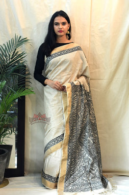 Madhubani Paints Abstract Nature Madhubani Handpainted Saree