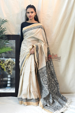 Madhubani Paints Black-Minimal Madhubani Handpainted Saree