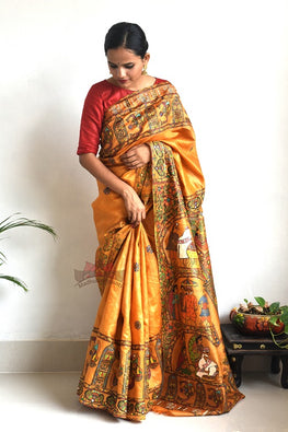 Madhubani Paints Sai Jeevan Madhubani Handpainted Saree