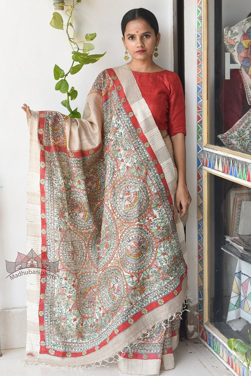 Peacock  Tussar Madhubani Painted Saree