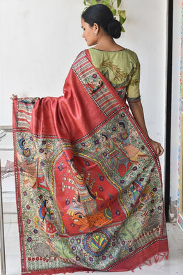Okhai Durga Red Handpainted Madhubani Painting Saree Online
