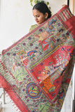 Durga Red Madhubani Painted Saree