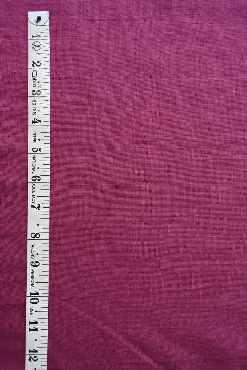 MORALFIBRE 100% Cotton Hand Spun Handwoven 'Mulberry' Plain Dyed Fabric(0.5 Meter)