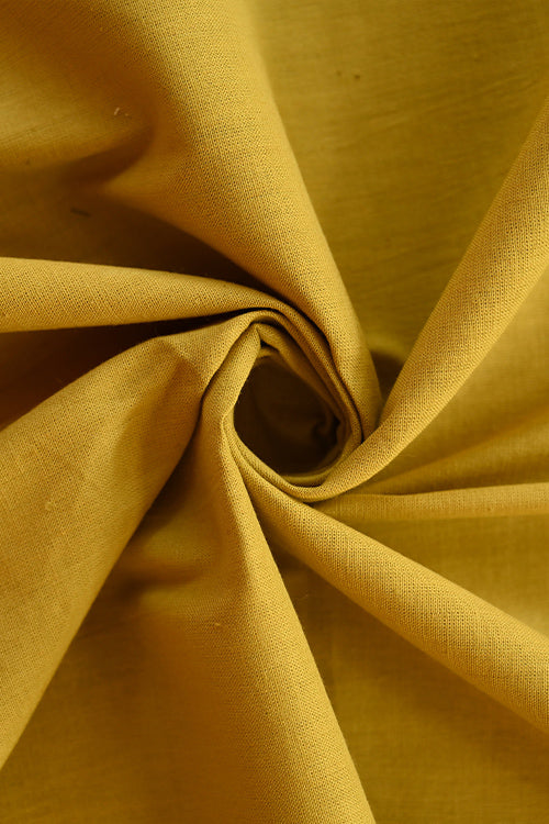 MORALFIBRE Handwoven Mustered Plain Cotton Dyed Fabric Online