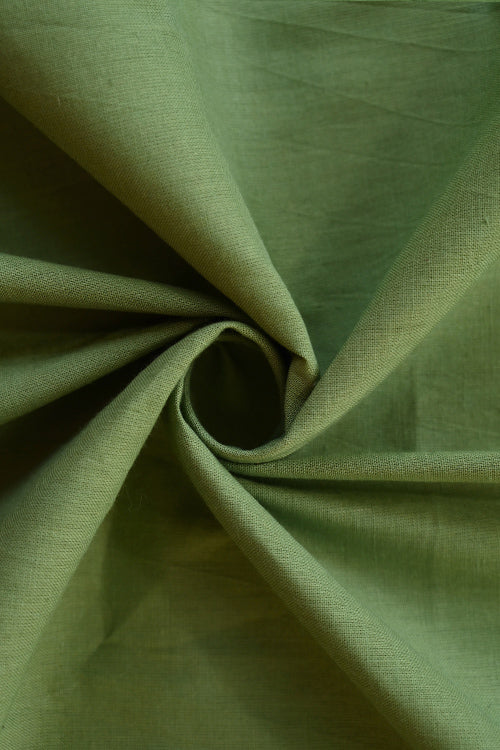 MORALFIBRE 100% Cotton Hand Spun Handwoven 'Moss' Plain Dyed Fabric (1 Meter)
