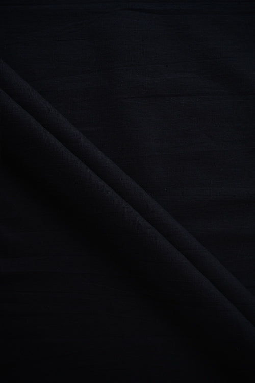 MORALFIBRE Handwoven Natural Black Plain Cotton Dyed Fabric Online