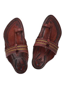 KALAPURI Awesome and attractive looking toxic free leather Kolhapuri Chappal in Reddish Brown Color from Kolhapur-4