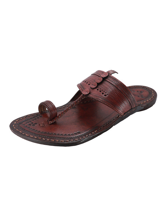 KALAPURI Awesome and attractive looking toxic free leather Kolhapuri Chappal in Reddish Brown Color from Kolhapur-5