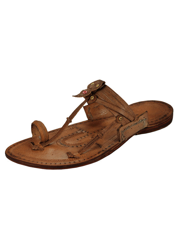 Kalapuri Men's Handcrafted Vegetable Tanned Leather Kolhapuri Chappal in Kurunwadi Style - Dark Brown