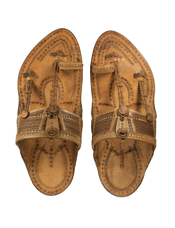 Kalapuri Men's Handcrafted Vegetable Tanned Leather Kolhapuri Chappal with Handmade Weni - Brown