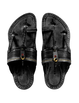 Kalapuri Men's Handcrafted Vegetable Tanned Leather Kolhapuri Chappal with Handmade Weni - Black