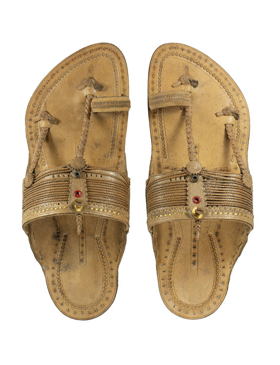 KALAPURI Awesome and attractive looking natural vegetable tanned toxic free leather Kolhapuri Chappal with handmade braids/weni from Kolhapur in Natural colour Size UK-6