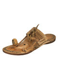 Kalapuri Men's Handcrafted Vegetable Tanned Leather Kolhapuri Chappal with Handmade weni & Leather tassles - Brown