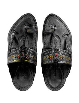 Kalapuri Men's Handcrafted Vegetable Tanned Leather Kolhapuri Chappal with Golden Islets - Black