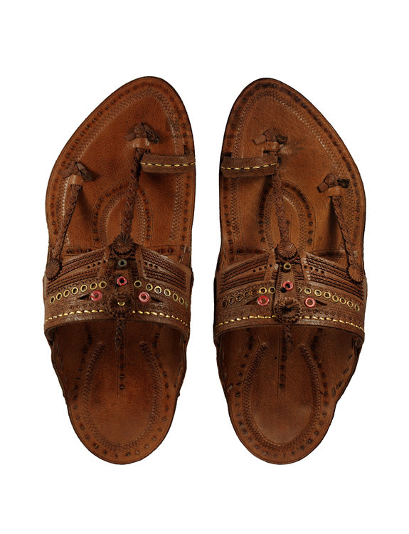 Kalapuri Men's Handcrafted Vegetable Tanned Leather Kolhapuri Chappal with Golden Islets - Dark Brown