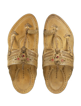 Kalapuri Men's Handcrafted Vegetable Tanned Leather Kolhapuri Chappal with Golden Islets - Natural