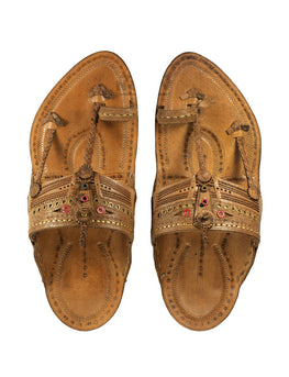Kalapuri Men's Handcrafted Vegetable Tanned Leather Kolhapuri Chappal with Golden Islets - Brown