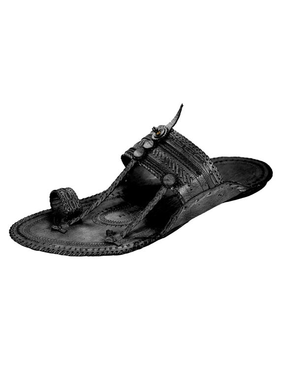 Kalapuri Men's Handcrafted Vegetable Tanned Leather Kolhapuri Chappal with Criss-cross upper - Black