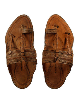 Kalapuri Men's Handcrafted Vegetable Tanned Leather Kolhapuri Chappal with Criss-cross upper - Dark Brown