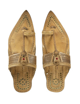Kalapuri Men's Handcrafted Vegetable Tanned Leather Kolhapuri Chappal in Tipu Style - Natural