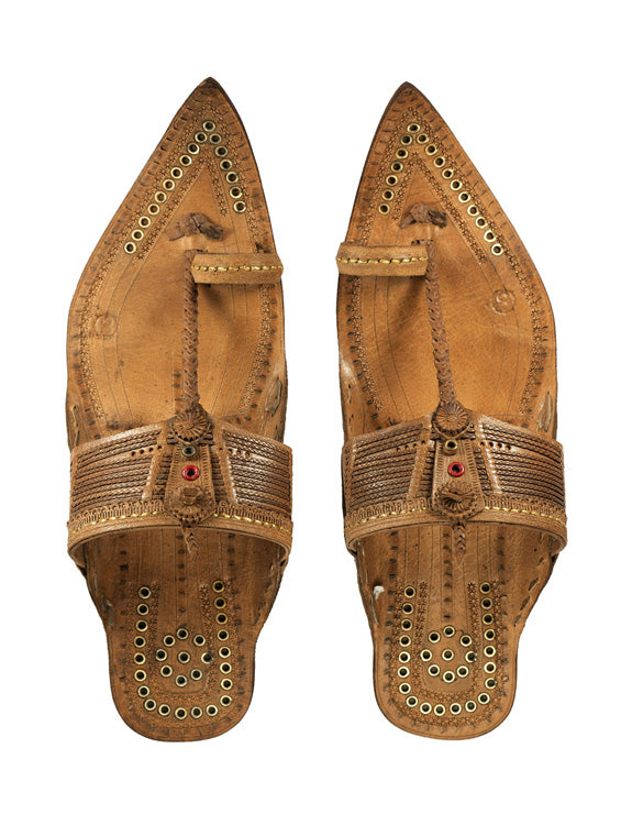 Kalapuri Men's Handcrafted Vegetable Tanned Leather Kolhapuri Chappal in Tipu Style - Brown