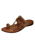 Kalapuri Men's Handcrafted Vegetable Tanned Leather Kolhapuri Chappal - Dark Brown