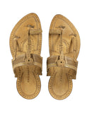 Kalapuri Men's Handcrafted Vegetable Tanned Leather Kolhapuri Chappal - Natural