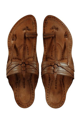 Kalapuri Men's Handcrafted Vegetable Tanned Leather Kolhapuri Chappal in Kurundwadi Button style - Dark Brown