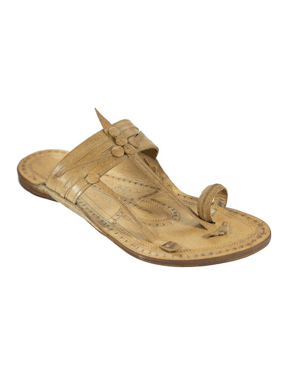Kalapuri Men's Handcrafted Vegetable Tanned Leather Kolhapuri Chappal in Kurundwadi Button style - Natural
