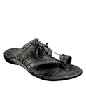 Kalapuri Men's Handcrafted Vegetable Tanned Leather Kolhapuri Chappal in Shahu Maharaj style - Black