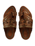 Kalapuri Men's Handcrafted Vegetable Tanned Leather Kolhapuri Chappal in Shahu Maharaj style - Dark Brown