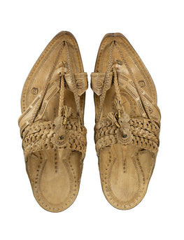 Kalapuri Men's Handcrafted Vegetable Tanned Leather Kolhapuri Chappal in Tipu style- Natural